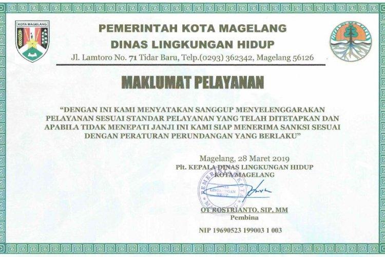 Maklumat Pelayanan Dinas Lingkungan Hidup Kota Magelang