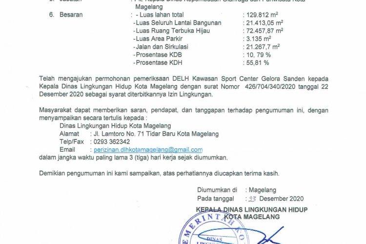 Pengumuman Permohonan Izin Lingkungan Kawasan Sport Center Gelora Sanden Kota Magelang