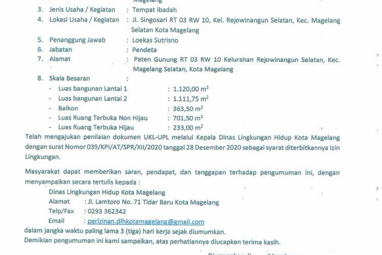 Pengumuman Permohonan Izin Lingkungan Pembangunan Gereja Kehilat Pemulihan Indonesia